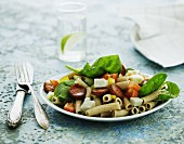 Pasta salad with spinach, chorizo and mozzarella