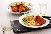A duo of chicken breast (spiced and unspiced) with tagliatelle