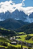 The Geisler Mountains behind the town of Villnösstal, South Tyrol