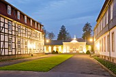 The elegant inner courtyard of the Gräflicher Park Hotel und Spa in Bad Driburg