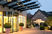 The beautiful entrance of the Landhotel Voshövel in Schermbeck, North Rhine Westphalia