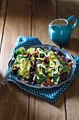 Warm broccoli salad with crispy beetroot and bacon