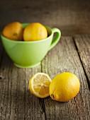 Whole Lemon, Lemon Quarters and Lemon Slices; From Above