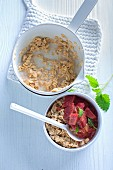 Porridge with rhubarb compote