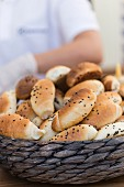 Sesame seed rolls in a basket at a fast food stand