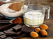 Ingredients for chocolate and almond tart