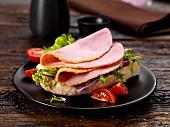 Ham and lettuce on ciabatta bread