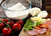 Ingredients for pizza Romagna