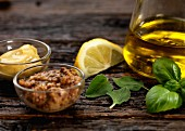 Ingredients for a mustard and herb oil dressing