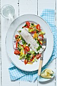 Steamed cod fillet with salad