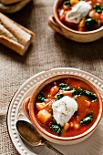 Hungarian goulash soup with spinach and crème fraîche