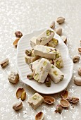 Torroncini nougat with pistachio nuts