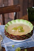 Ajo Blanco (cold garlic soup, Spain) with grapes