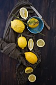 Lemons, whole and sliced