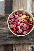 Frozen raspberries with rhubarb pieces