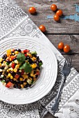 Bean salad with sweetcorn and tomatoes