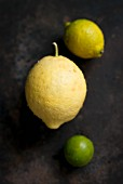 A citron, a lemon and a lime (seen from above)