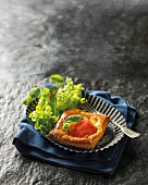 Tomato, basil and Gruyere cheese tartlet