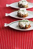 Mini potato cakes with cream cheese