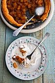 Pear tart with cream, sliced, one-piece eaten