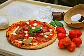Pizza with Bresaola, mushrooms, tomatoes and mozzarella (Italy)