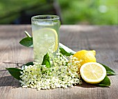 Elderflower juice with lemons and elderflowers