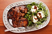 Chicken with a fig and balsamic glaze with a rocket and feta cheese salad