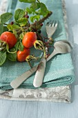 A place setting with cutlery and rosehips