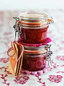 Berry jam in flip-top jars with gift tags