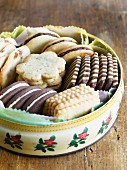 Various biscuits in a biscuit tin
