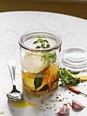 Mozzarella pickled in olive oil and herbs
