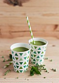 Cups of cold pea soup