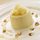 Panna cotta with white chocolate and chopped almonds