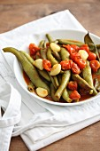 Braised green beans with cherry tomatoes and garlic