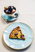 A slice of fig and pistachio tart