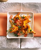 Chanterelle mushrooms with tomatoes, bacon and thyme