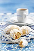 Greek almond biscuits with icing sugar