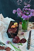 Cooked beetroot, fresh chive flowers and peaches