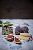 Fourme D'Ambert (French blue cheese) wine hard cheese from Italy with figs and spring onions