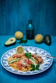 Tagliatelle al peperoncino with prawns, avocado, pink grapefruit, lemons, fennel and parsley