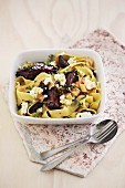 Pappardelle with beetroot, ricotta and thyme