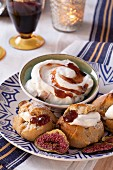Profiteroles with fig cream