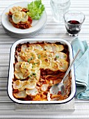 Fennel, ham and tomato gratin