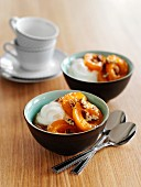 Quark with poached apricots, pecan nuts and maple syrup