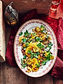 Roasted cauliflower salad with almonds and oranges