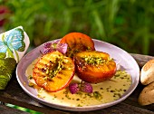 Grilled nectarines with pistachios