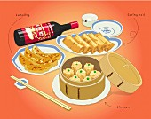 Dim sum and spring rolls (illustration)