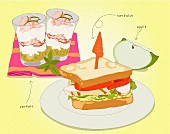 A sandwich, parfait and an apple wedge (illustration)