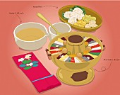 A traditional Korean meal (illustration)