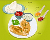 Tortilla with chicken (illustration)